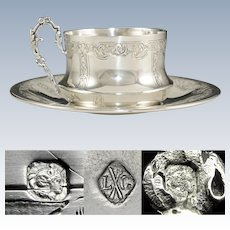 Antique French Sterling Silver Coffee or Tea Cup & Saucer Set by Louis Coignet, Ornate Engraved Foliage