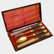 Antique French Sterling Silver 4pc Flatware Gold Vermeil Travel Gift Set, Solid Abalone Shell Handles, Boxed