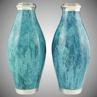 Pair Antique French Sterling Silver Mounted Glazed Teal Blue Vases