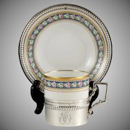 1900s French Limoges Porcelain Cup and Saucer, Sterling Silver Mounts, A