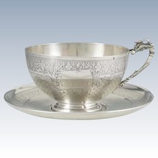 Antique 19thc French Sterling Silver Large Cup & Saucer, Swan Handle, Chocolate, Tea or Coffee
