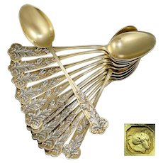 12 Antique Art Nouveau French Sterling Silver Gilt Vermeil Demitasse Teaspoons, Coffee Moka Espresso Spoons