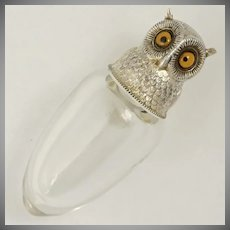 Victorian Sampson Mordan Sterling Silver Owl Perfume Scent Bottle