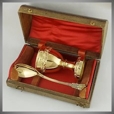 Antique French Sterling Silver Gold Vermeil Egg Cup and Spoon Breakfast Set, Boxed