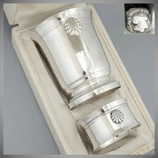 Art Deco French Sterling Silver Tumbler Wine Cup & Napkin Ring Gift Set, Sea Shell Motif, Original Box