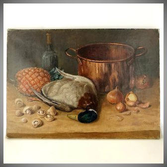 Antique French Still Life Oil Painting Food, Copper Pot, Duck & Pineapple, Nature Morte