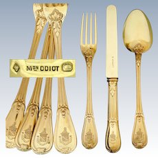 36pc ODIOT French Sterling Silver 18k Gold Vermeil Armorial Flatware Set, Identified Coat of Arms