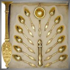 Antique French Sterling Silver Gold Vermeil Tea Service, Empire Motif, Sugar Tongs, Strainer, Teaspoon Set, Alphonse DEBAIN