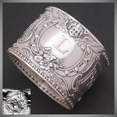 Antique French Sterling Silver Napkin Ring, Winged Cherub, Putti, Monogram Letter L