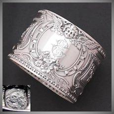 Antique French Sterling Silver Napkin Ring, Winged Cherub, Putti, Monogram Letter E