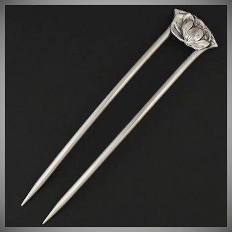 Sterling Silver Hair Comb, Floral Motif | Bun Stick Pin | 2-Prong Hair Fork