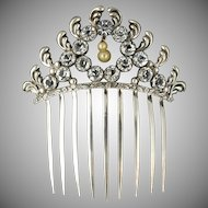 Antique Victorian Sterling Silver Hair Comb, Paste Stones,  Ornament Headdress