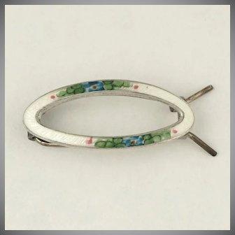 Vintage Sterling Silver Guilloche Enamel Hair Clip Barrette Accessory, Blue Flowers