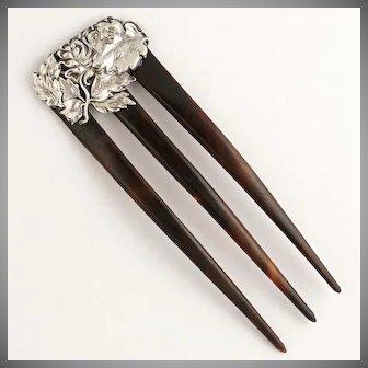 Art Nouveau Sterling Silver Repousse Hair Comb | Chrysanthemum Flower Motif