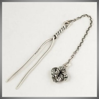 Antique Sterling Silver Hair Comb with Dangle Ornament, Bun Fork Pin Accessory