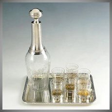 Antique French Sterling Silver Liquor Service | Decanter, Shot Glasses & Tray | Boxed Set