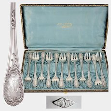 Antique French PUIFORCAT Sterling Silver Shellfish Oyster Fork Set in Box, Louis XV Pattern