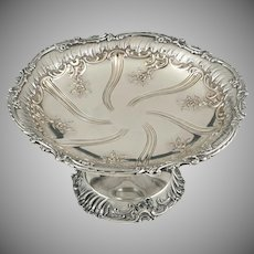French Sterling Silver Footed Tazza, Compote Centerpiece, Rococo Floral Repousse