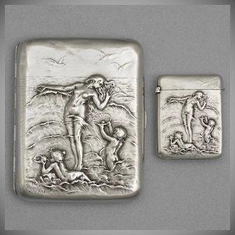 French .800 Silver Cigarette Case & Match Safe Vesta   Art Nouveau Nude, Cherubs, Waves   Firmin-Pierre Lasserre & Adolphe Frontin