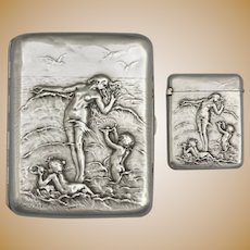 French .800 Silver Cigarette Case & Match Safe Vesta | Art Nouveau Nude, Cherubs, Waves | Firmin-Pierre Lasserre & Adolphe Frontin