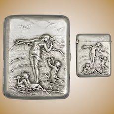 French .800 Silver Cigarette Case & Match Safe Vesta | Art Nouveau Nude, Cherubs, Waves | Firmin-Pierre Lasserre & Adolphe Frontin