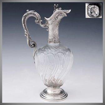 Antique French Sterling Silver Cut Crystal Claret Jug Ewer Decanter