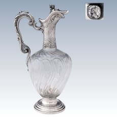 Antique French Sterling Silver Cut Crystal Claret Jug Ewer Decanter
