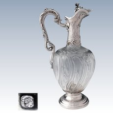 Antique French Sterling Silver Swirl Cut Crystal Claret Jug Wine Decanter Ewer, Rococo Style
