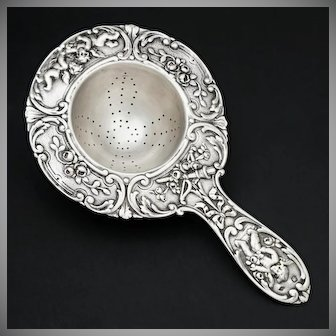Ornate French Sterling Silver Over the Cup Tea Strainer, Rococo Style Cherubs, Scrolls & Flowers