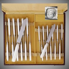 Art Deco 24pc French Sterling Silver Knife Set, Tetard Freres, Dinner & Luncheon Knives for 12