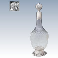 Large Antique French Sterling Silver Intaglio Cut Crystal Liquor Carafe Wine Decanter, Louis XVI/Rococo Style