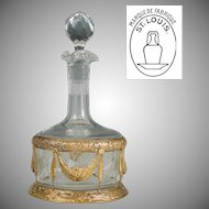Antique French Saint Louis Crystal & Gilt Bronze Liquor Decanter, Acid Etched Cameo