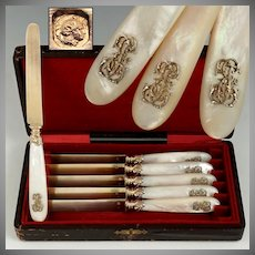 Antique French Sterling Silver Gold Vermeil Dessert Knives, Knife Set, Mother of Pearl Handles