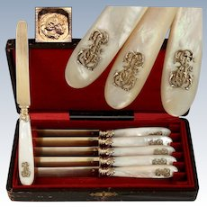 Antique French Sterling Silver Gold Vermeil Dessert Knives, Knife Set, Mother of Pearl Handles