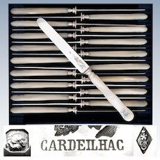 CARDEILHAC : Antique French Sterling Silver & Mother of Pearl Dessert Knives, 18pc Knife Set