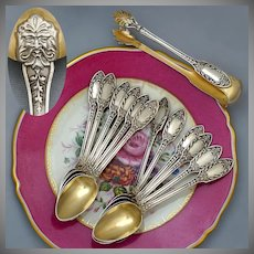 Antique French Sterling Silver Gold Vermeil 13pc Tea Coffee Spoon Set, Sugar Tongs, Renaissance Mascarons