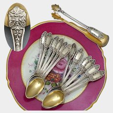 Antique French Sterling Silver Gold Vermeil 13pc Tea Coffee Spoon Set, Sugar Tongs, Renaissance Mascarons