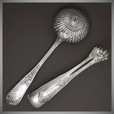 Antique French Sterling Silver Sugar Tongs & Powdered Sugar Sifter Spoon | Fruit, Dessert and Coffee / Tea Serving Set