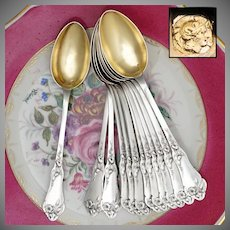 12 Antique French Sterling Silver Teaspoons, Coffee Tea Moka Spoons Set, Art Nouveau Morning Glory Flowers, Boxed