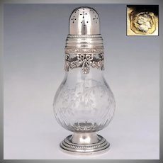 Antique Belle Epoque French Sterling Silver Cut Crystal Sugar Shaker, Caster, Muffineer
