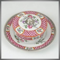 French Sterling Silver & Hand Painted Samson Porcelain Covered Butter or Cheese Dish & Tray / Under Plate
