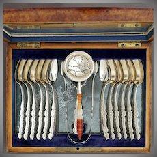 Antique Dutch .833 Silver 15pc Tea / Coffee Flatware Service, Burl Wood Box | Set of Teaspoons, Tea Strainer, Caddy Spoon & Sugar Tongs