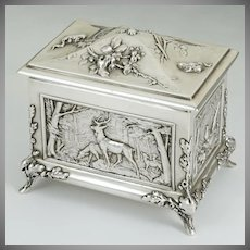 Antique French Sterling Silver Hinged Jewelry Box, Casket, Figural Animal Theme, Stag, Ducks, Boar