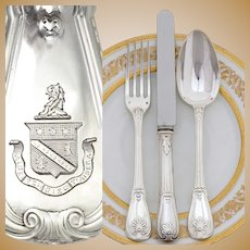 PUIFORCAT: 36pc Antique French Sterling Silver Armorial Dinner Flatware Cutlery Set, Identified Coat of Arms, Louveciennes Pattern