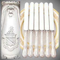 Antique French Sterling Silver Armorial Dinner Knives, Knife Set, Identified Coat of Arms, Louveciennes Pattern