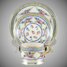 3pc Limoges Porcelain Tetard French Sterling Silver Tea/Coffee Cup & Saucer, Bread Plate, Trio Set