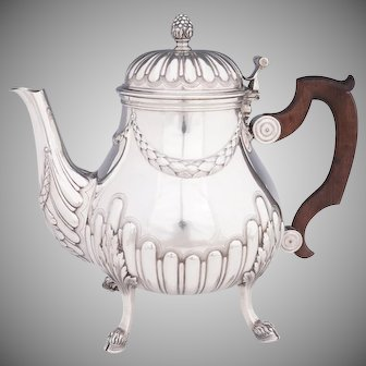 Antique French Sterling Silver Teapot or Coffee Pot | Hoof Feet, Empire Style Acanthus & Gadroon Pattern