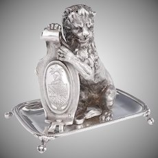 Rare Antique French Sterling Silver Toothpick Holder, 3D Lion Figure, Heraldry Armorial Coat of Arms