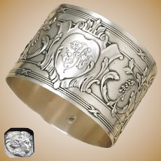 Antique French Sterling Silver Napkin Ring Ornate Bow & Arrows Motif
