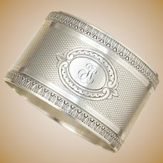 Antique French Sterling Silver Napkin Ring, Ornate Guilloche Engraved Decor